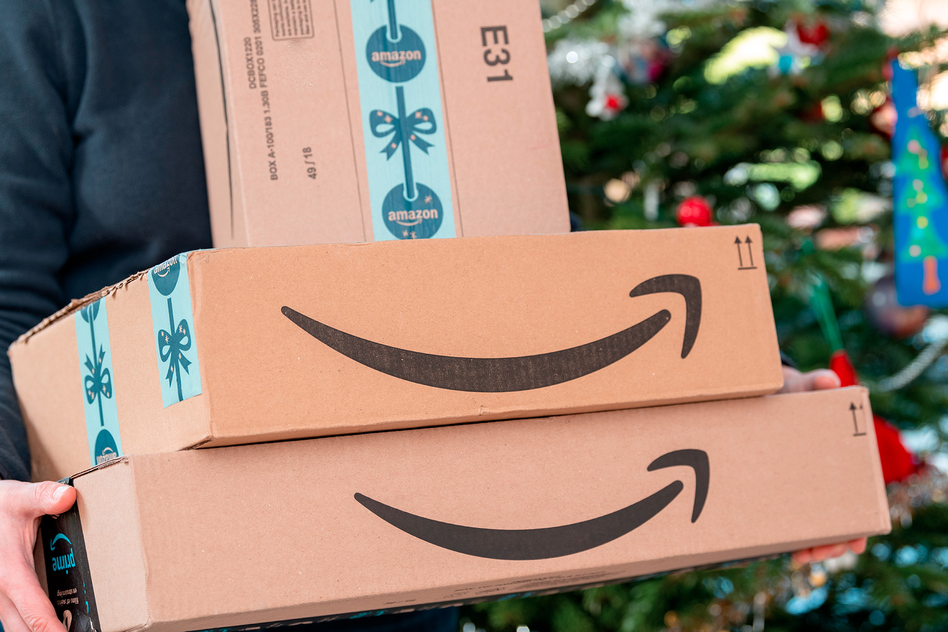 An Amazon Prime package delivered to a residential home for christmas