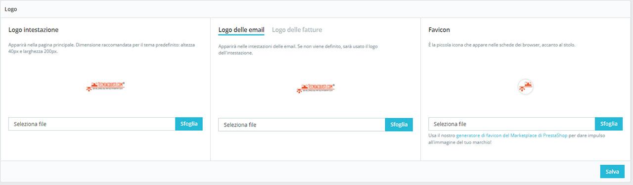 Per inserire la favicon in PrestaShop 1.7 basta andare in: Design -> Tema & Logo