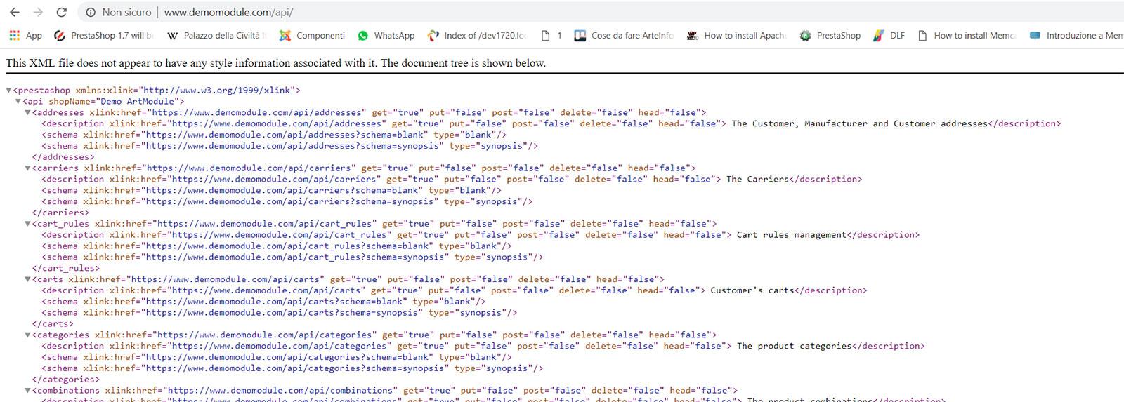 Metodi API di PrestaShop