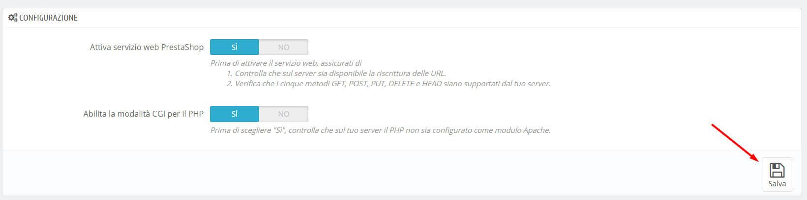 Abilitare il WebService di PrestaShop